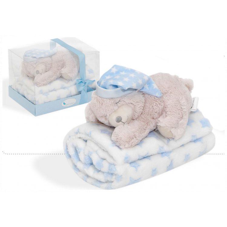 Κουβέρτα αγκαλιάς και αρκουδάκι Interbaby Oso Tumbado blue