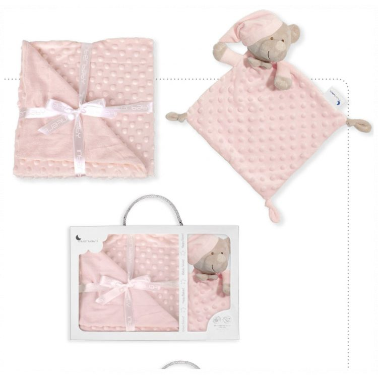 Κουβέρτα αγκαλιάς και βελούδινο πανάκι παρηγοριάς Interbaby Set Extrafort Bear pink