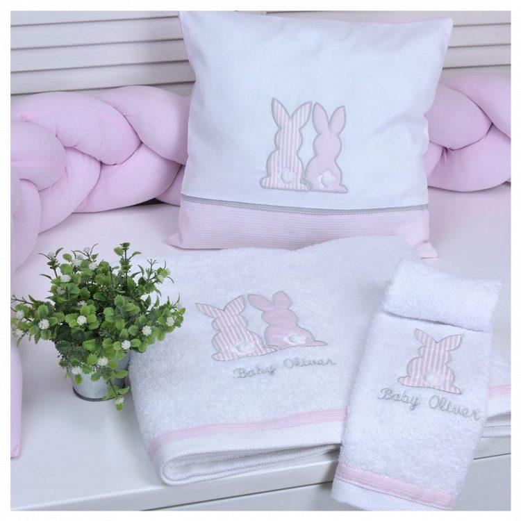 Πετσέτες βρεφικές σετ 2 τμχ Baby Oliver Pink Bunny