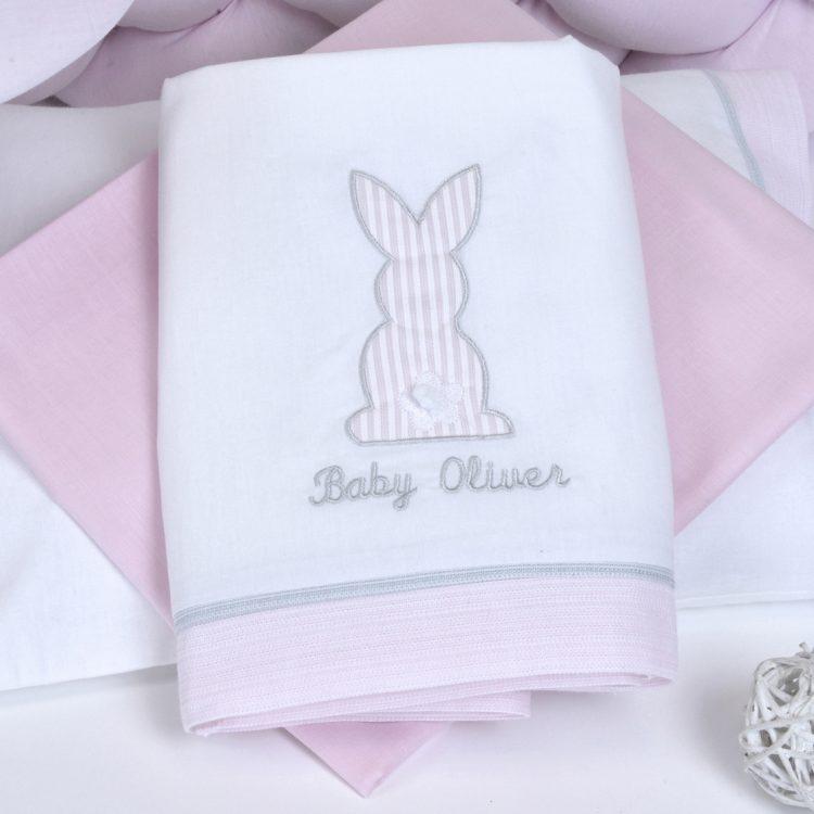 Σεντόνια σετ 3 τμχ Baby Oliver Pink Bunny des.357