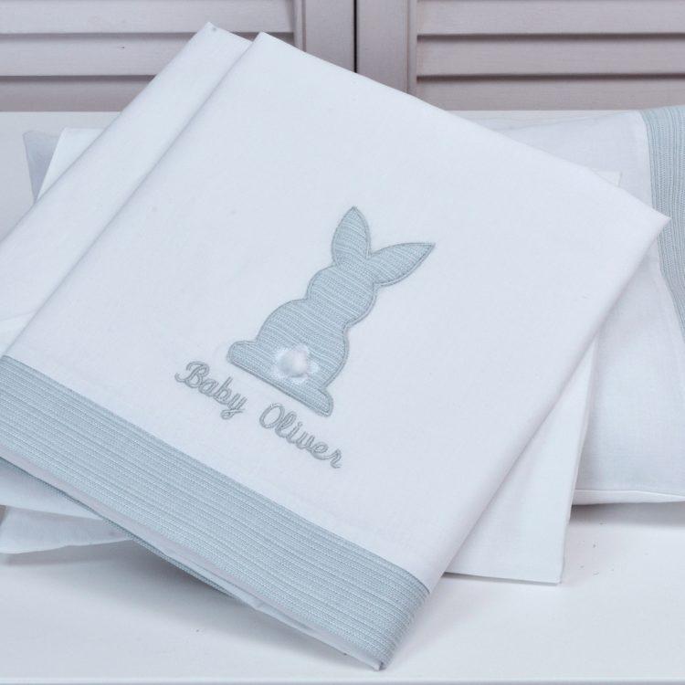 Σεντόνια σετ 3 τμχ Baby Oliver Grey Bunny des. 356