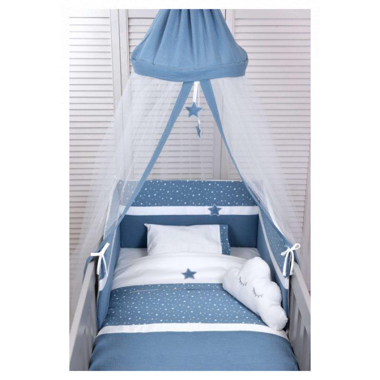 Προίκα κούνιας Baby Oliver Muslin blue σετ 2 τμχ des. 374